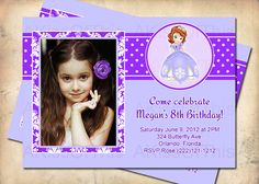 Sofia the First Birthday Invitation  Girls Photo by AKissOfThis, $15.00 *****i really like this one****