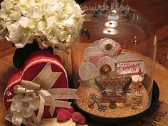 decorative cloche with sweet hearts and tags