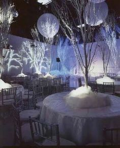 Lots of events here, the snow, the frosting branches, but my favorite is the trees projected onto the walls