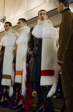 Giant scarves backstage at J.W.Anderson AW15 LCM. See more here: http://www.dazeddigital.com/fashion/article/23160/1/j-w-anderson-aw15