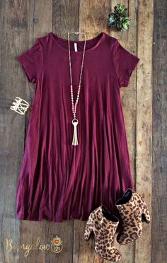 Carolina Dress - Burgundy – Bungalow 123... Minus those cheetah print booties lol