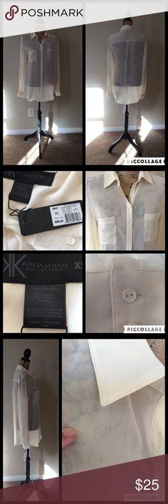 """💞NWT Beige """"Kardashian Kollection"""" Blouse Size XS 💞NWT Beige """"Kardashian Kollection"""" Blouse Size XS💞 See through Long sleeve Kardashian Kollection Tops Blouses"""