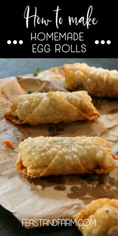 Homemade egg rolls are a tastier version of takeout and you can control the ingredients. Just 20 minutes to perfection! Homemade Egg Rolls - Your favorite take out is easy at home and the flavor is WOW. Click now to get the recipe! Homemade Chinese Food, Easy Chinese Recipes, Asian Recipes, Beef Recipes, Vegetarian Recipes, Chicken Recipes, Cooking Recipes, Vegetarian Egg Rolls, Healthy Egg Rolls