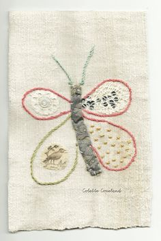 Small art quilt embroidery butterfly by ColetteCopeland on Etsy
