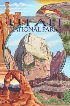Utah National Parks - Zion in Center - Lantern Press Poster