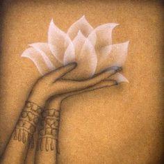 Illustration Main, Yoga Kunst, Lotus Flower Art, Lotus Painting, Indian Art Paintings, Buddha Art, Lotus Tattoo, Yoga Art, Hindu Art