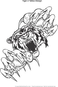 Tiger 2 Tattoo Design Coloring Page Kidscanhavefun