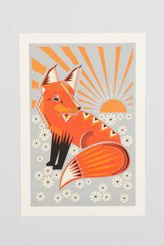 Hillary Bird Twilight Fox Art Print - Urban Outfitters