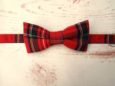 **Ready to post**  Boys size red tartan pre tied bow tie 100% quality cotton…