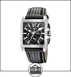 FESTINA F16363/6 - Reloj de caballero de cuarzo, correa de piel color negro (con cronómetro) de  ✿ Relojes para hombre - (Gama media/alta) ✿