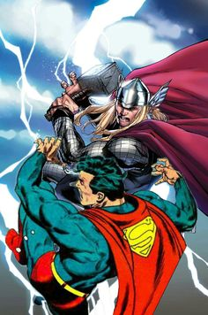 Thor vs Superman Comic Book Characters, Marvel Characters, Comic Books Art, Comic Art, Thor Vs Superman, Superman Art, Black Panther Symbol, Marvel And Dc Crossover, Marvel Drawings
