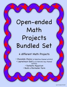 This set has four different projects based on inquiry learning. It is real life events that apply to students. They must solve open-ended math situations. Problem Based Learning, Inquiry Based Learning, Project Based Learning, Teaching Math, Teaching Ideas, Math Resources, Math Activities, Math Classroom, Classroom Ideas