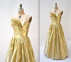 Gold Metallic 80 S Prom Dress Size Medium Vintage Strapless Evening Gown Mike Benet