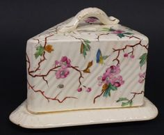 ANTIQUE PORCELAIN LIDDED CHEESE DISH