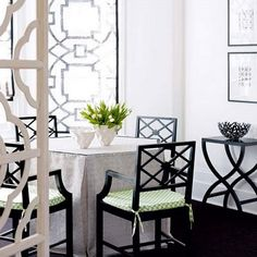 Black And White Traditional Dining Area
