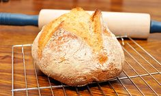 The famous 5-minute bread recipe. I've made this 100+ times, always reduced the recipe to 1/2, makes 2 loaves or pizza crusts. DELISH and EASY. No kneading! Just stir & let rise. Shape & bake.