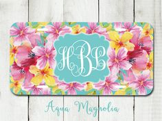 Tropical Watercolor Flowers - Hibiscus - Personalized - License Plate - Monogrammed - Car Tag - Aqua - Pink - Yellow by AquaMagnolia on Etsy