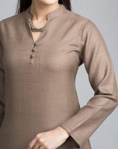Buy Fabindia Wool Plain Full Sleeves Long Kurta Online- Fabindia.com Plain Kurti Designs, Silk Kurti Designs, Churidar Neck Designs, Kurta Neck Design, Kurta Designs Women, Salwar Designs, Neck Designs For Suits, Neckline Designs, Dress Neck Designs