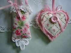 2 Shabby Petite Sachets Pink Roses Laura Ashley Fabric Ornaments Lace Heart