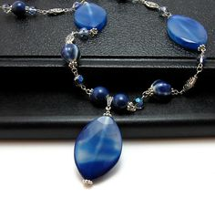 Long Royal Blue Banded Agate & Silver Chain by DianaRiggsDesigns, $55.00