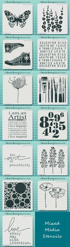 Donna Downey Signature Stencils -  perfect for use in Journals, Mixed Media, Scrapbooks, and more!