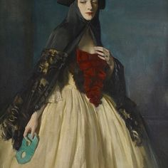 """Loulou's grandmother, Maxine's mother, Rhoda Vava Mary Lecky Pike, a realist painter and Irish beauty, painted in 1922 by her husband Oswald Birley. """"The Green Mask"""""""