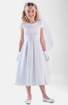 Us Angels Box Pleat Lace Bodice Dress (Little Girls & Big Girls) available at #Nordstrom