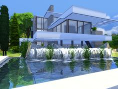 Falling Water house by Suzz86 at TSR via Sims 4 Updates  Check more at http://sims4updates.net/lots/falling-water-house-by-suzz86-at-tsr/