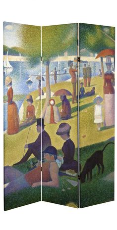 "71"" x 38.75"" Tall Double Sided Works of Seurat Canvas 3 Panel Room Divider"