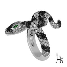 18K White Gold 3.32CT G-H/VS2 Round & Black Diamond Emerald AA Snake Shape Ring #WomensSnakeShapeRingJewelryHotspot