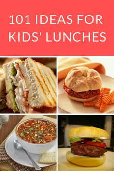 School Lunch Ideas for Kids: Whether you're eating at home or packing the kids' lunches for school, these 101 ideas for kids' lunches offer tasty options to please the pickiest palettes.