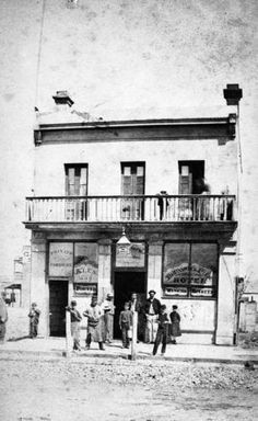 Negative - Group Outside the Brunswick River Hotel, Melbourne, Victoria, circa 1865 Victoria Australia, Melbourne Victoria, Melbourne Suburbs, Australia Photos, Historic Homes, Historical Photos, Old Photos, The Outsiders, Country