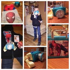 Peter Parker aka Spider-Man costume. Camera made from small tea box, small Tupperware, medicine dosage cup, ribbon, and colored duct tape. Mask is iron-on onto a hankie and folding into pocket.