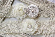 Ivory Satin and Lace Bridal Garter Set by FlourishingCreations, $28.95