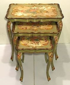 Set of 3 italian florentine gold toile nesting tables french style vintage italian florentine venetian paint decorated nesting tables watchthetrailerfo