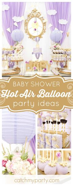 Take flight with this gorgeous vintage Hot Air Balloon themed Baby Shower! The dessert table is incredible!! See more party ideas and share yours at CatchMyParty.com