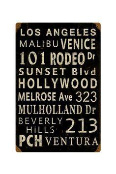 "LA Towns Retro Metal Sign - 12"" x 18"" by Hip Retro Metal Signs on @HauteLook"