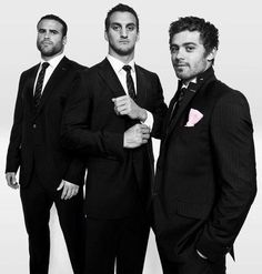 Welsh rugby men in suits. Jamie Roberts, Sam Warburton and Leigh Halfpenny