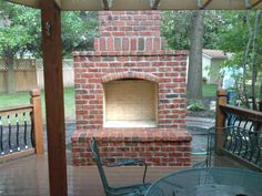 What to Consider in a Brick Outdoor Fireplace : How To Build An Outdoor Brick Fireplace. How to build an outdoor brick fireplace. Outdoor Fireplace Brick, Fireplace Kits, Outside Fireplace, Outdoor Fireplace Designs, Backyard Fireplace, Outdoor Fireplaces, Fireplace Wall, Fireplace Mantels, Diy Patio