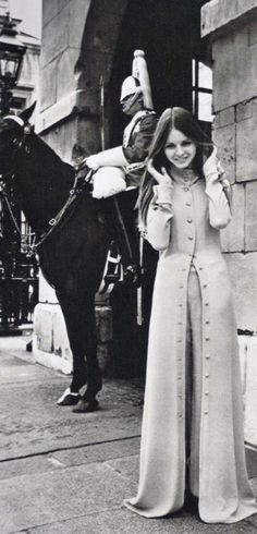 Susan Dey, Horse Guards Arch, London. 1960s fashion shoot