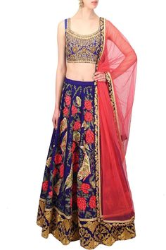 Ink Blue Butterfly and Rose Embroidered Bridal Lehenga Set
