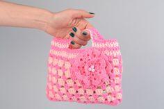 Weiteres - Kleine gehäkelte Kinder Handtasche in Rosa mit - ein Designerstück…
