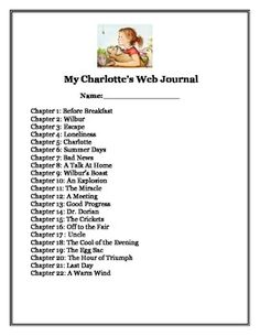 This journal is to be used the book Charlotte's Web. Students will have a journal page where they can write their response to the chapter and write about characters in the story. There is also some pages for the students to compare and contrast the book to the movie.