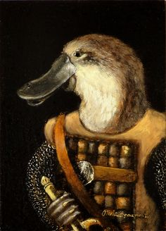 Gallus anthropomorphic oil painting by Olivia Beaumont