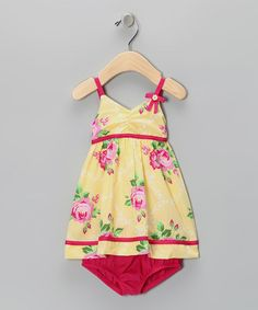 Look what I found on #zulily! Yellow Rose Dress & Diaper Cover - Infant by Penelope Mack #zulilyfinds