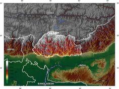 Topographic map of Bhutan. ◆Bhutan - Wikipedia http://en.wikipedia.org/wiki/Bhutan #Bhutan