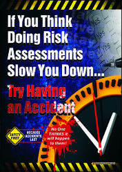 Workplace Safety Poster encouraging workers to do risk assessments before starting a job. Available as & in Australia and NZ (printed in Aus), and & in the USA and Canada (printed in US). Funny Safety Slogans, Safety Quotes, Health And Safety Poster, Safety Posters, Drive Safe Quotes, Eye Safety, Safety Topics, Construction Safety, Industrial Safety