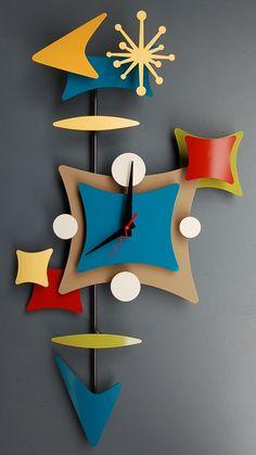 Retro Style so pop art.so googie style Mid Century Modern Art, Mid Century Decor, Mid Century Furniture, Mid Century Design, Modern Clock, Mid-century Modern, Modern Times, Retro Clock, Cool Clocks
