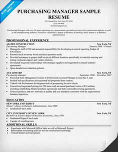 Purchasing #Manager Resume (resumecompanion.com)