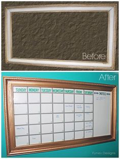 Old frame turned one month dry erase calendar | #DIY do it yourself organized calendar inspiration #crafts #home decor